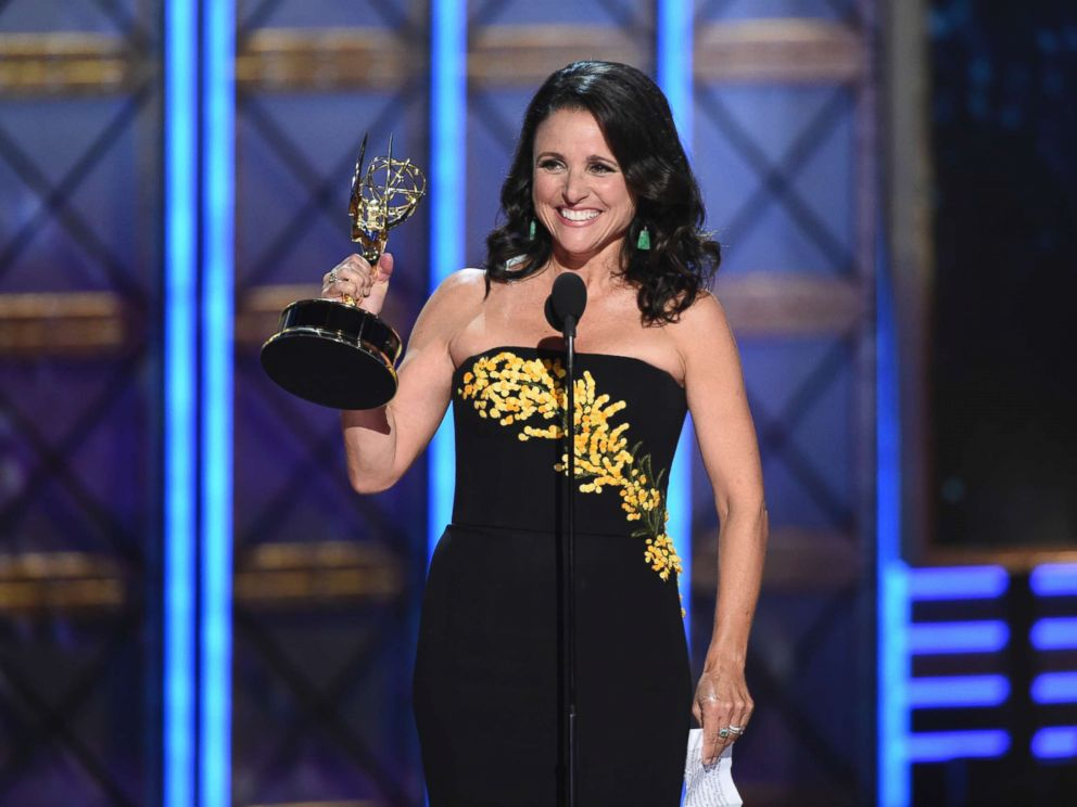 PHOTO: Julia Louis-Dreyfus accepts the award for outstanding lead actress in a comedy series for Veep at the 69th Primetime Emmy Awards on Sept. 17, 2017, at the Microsoft Theater in Los Angeles.