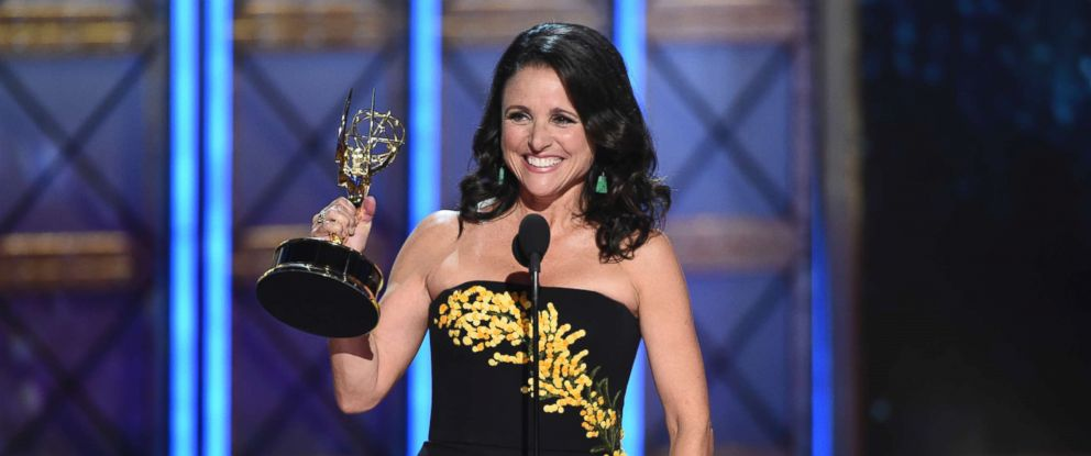 "PHOTO: Julia Louis-Dreyfus accepts the award for outstanding lead actress in a comedy series for ""Veep"" at the 69th Primetime Emmy Awards on Sept. 17, 2017, at the Microsoft Theater in Los Angeles."