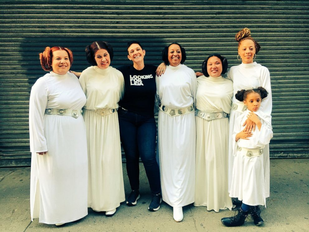 """PHOTO: Documentary filmmaker Annalise Ophelian posing with Princess Leia cosplayers during a shoot for """"Looking for Leia"""" in New York City."""