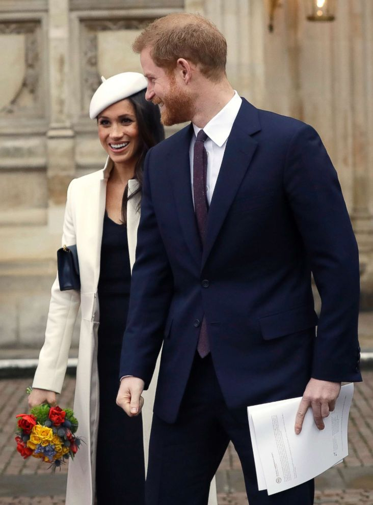 PHOTO: Britains Prince Harry and Meghan Markle leave after attending the Commonwealth Service at Westminster Abbey in London, March 12, 2018.