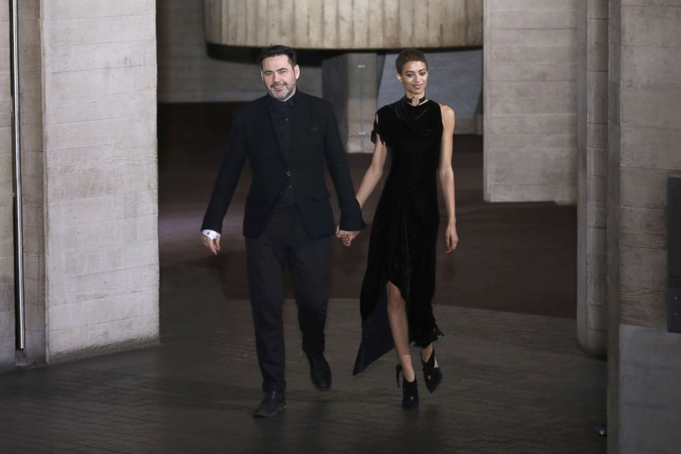 PHOTO: Designer Roland Mouret (L) is seen on the runway at the Roland Mouret show during London Fashion Week, February 2017 collections, Feb. 19, 2017, in London.