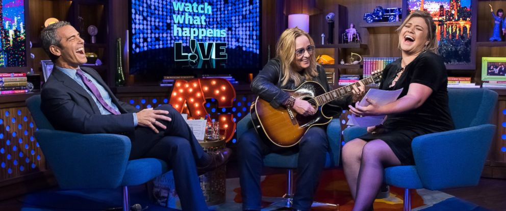 """PHOTO: From left, Andy Cohen, Melissa Etheridge and Kelly Clarkson on """"Watch What Happens Live."""""""