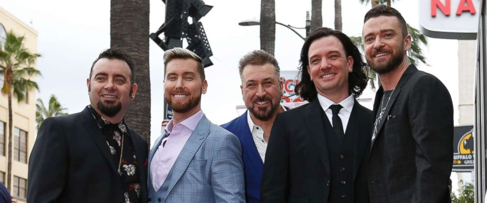 PHOTO: American boy band *NSYNC pose during the unveiling ceremony of their star on the Hollywood Walk of Fame in Los Angeles, April 30, 2018.