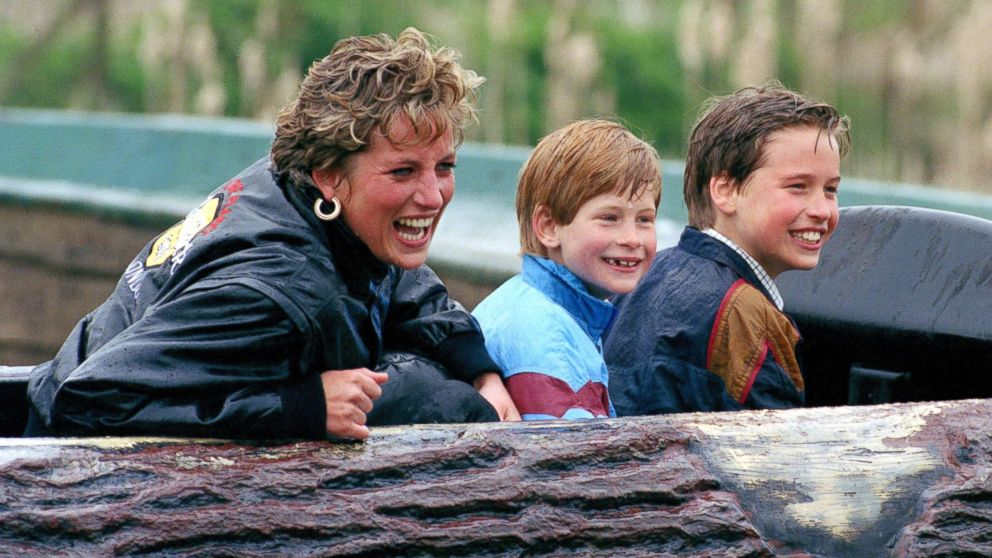 Diana, Princess of Wales, Prince William and Prince Harry visit Thorpe Park Amusement Park, April 13, 1993.