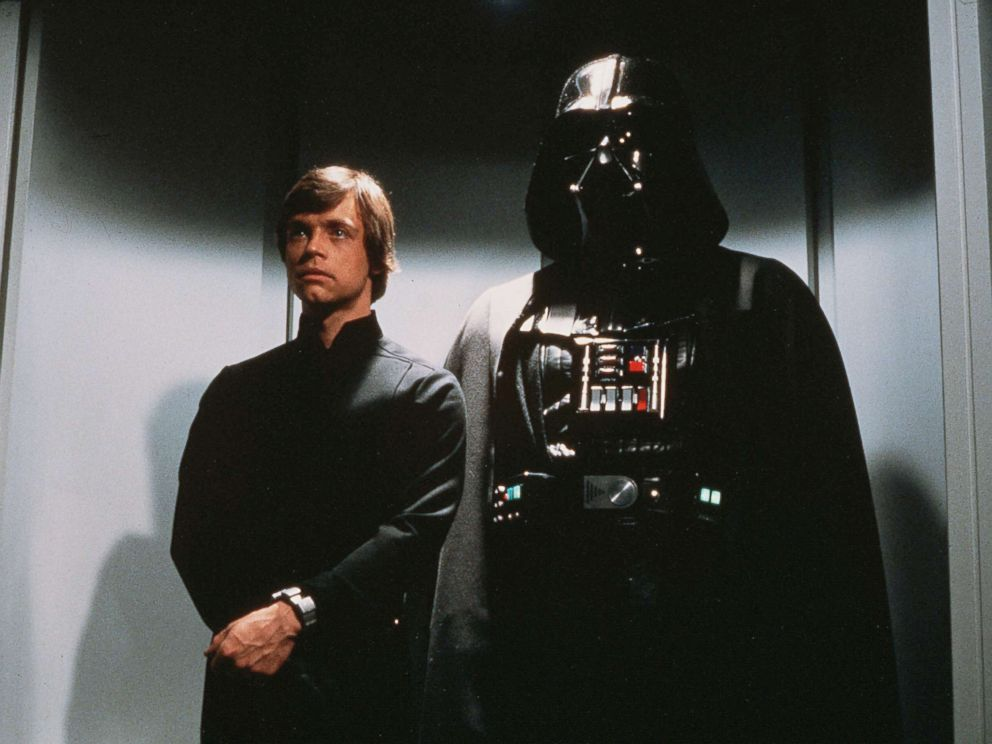 PHOTO: Luke Skywalker and Darth Vader are shown in a scene from the film Return of the Jedi.