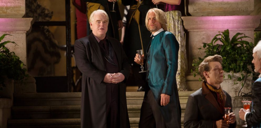 "PHOTO: Philip Seymour Hoffman, left, and Woody Harrelson, right, are pictured in a still from ""The Hunger Games: Catching Fire."""