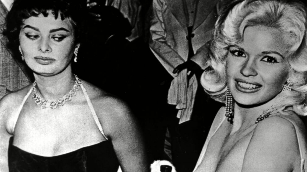Sophia Loren eyes Jayne Mansfield 57 years ago at a Paramount party.