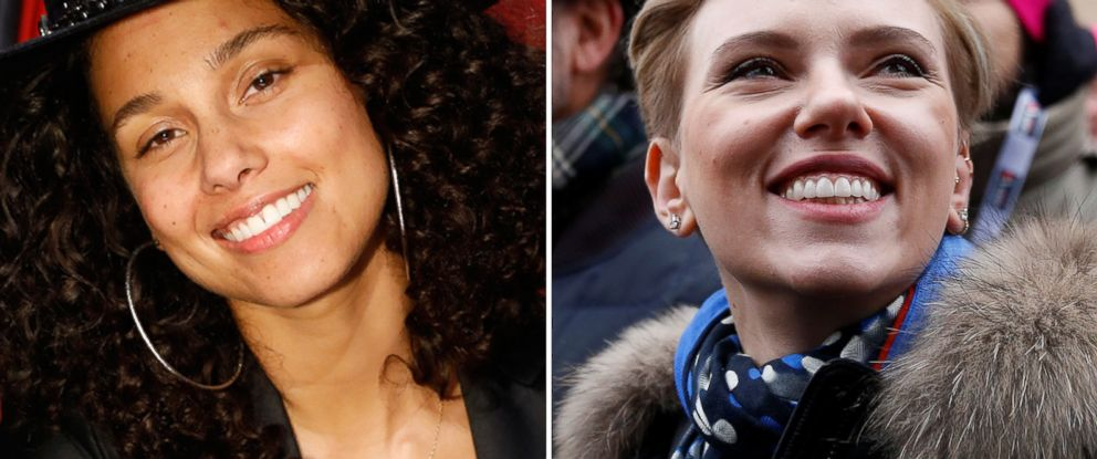PHOTO: (L-R) Alicia Keys is pictured from The Voice, Nov. 21, 2016 and Scarlett Johansson is pictured at the Womens March in Washington, Jan. 21, 2017.