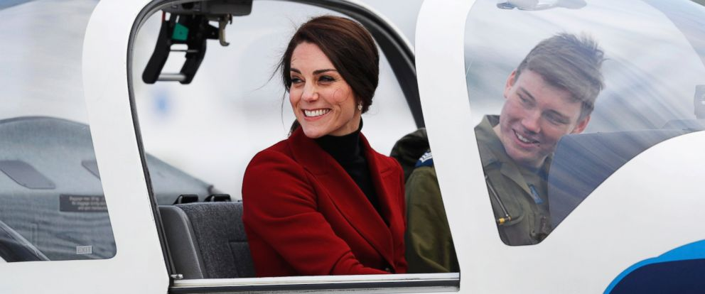 PHOTO: Britains Catherine, the Duchess of Cambridge, sits in a training aircraft during a visit to RAF Wittering, Feb. 14, 2017.