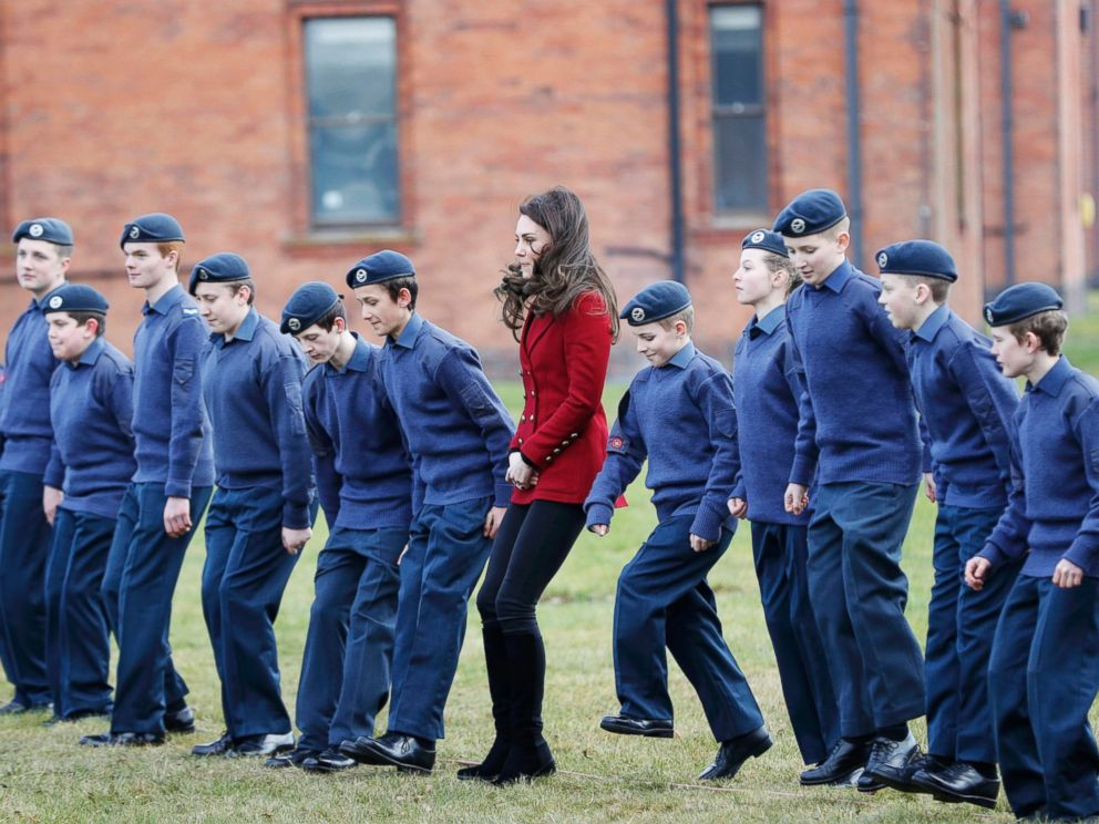PHOTO: Britains Catherine, the Duchess of Cambridge, takes part in a team building excercise with cadets during a visit to RAF Wittering, Feb. 14, 2017.