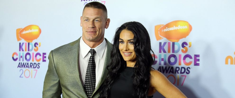 PHOTO: Professional wrestlers John Cena, left, and Nikki Bella attend Nickelodeons 2017 Kids Choice Awards in Los Angeles, March 11, 2017.
