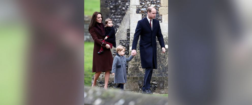 PHOTO: Prince William, the Duke of Cambridge, his wife Catherine, The Duchess of Cambridge, Prince George and Princess Charlotte arrive to attend the morning Christmas Day service at St Marks Church in Englefield, England, Dec. 25, 2016.