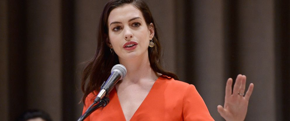 PHOTO: Actress and UN Women Global Goodwill Ambassador Anne Hathaway speaks at the commemoration event for International Womens Day at the United Nations Headquarters in New York on March 8, 2017.