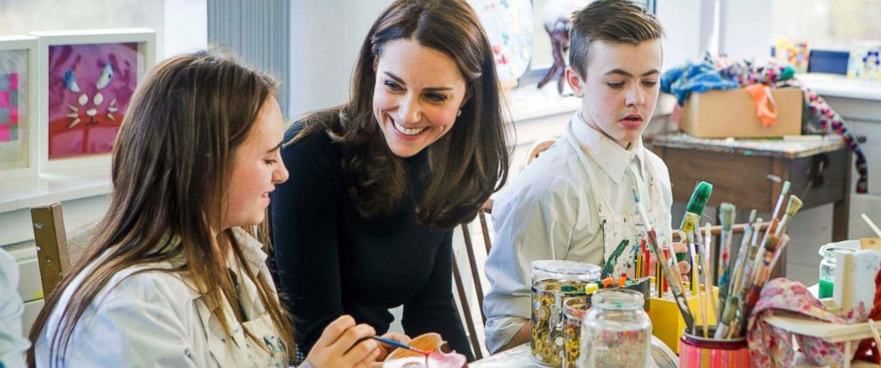 PHOTO: Kate Middleton, Duchess of Cambridge, joins an art class during her visit to Wester Hailes Education Centre in Edinburgh, Scotland, Feb. 24, 2016.
