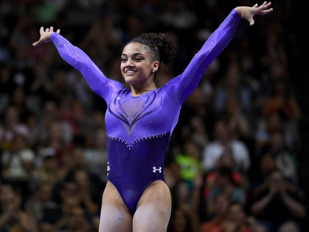 PHOTO: Laurie Hernandez reacts after completing her balance beam routine in the womens gymnastics U.S. Olympic team trials at SAP Center, July 8, 2016 in San Jose, California.