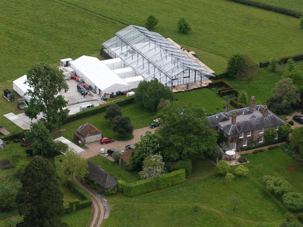PHOTO: Aerials views of the Middleton family home in Bucklebury, UK where a gigantic conservatory-style marquee dominates the surrounding gardens. Preparations continue for the upcoming wedding of Pippa Middleton to James Matthews.