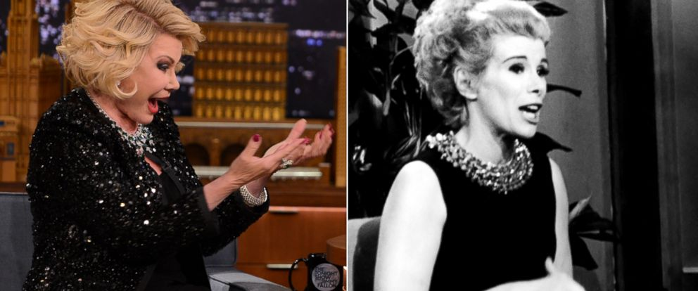 "PHOTO: Joan Rivers, seen during a 2014 ""Tonight Show"" appearance (left) and an undated appearance on the program decades earlier."