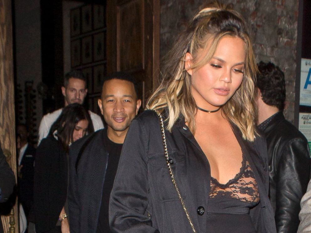 PHOTO: Chrissy Teigen and John Legend were seen at Lady Gagas private birthday party at No Name Restaurant in Los Angeles, Calif.