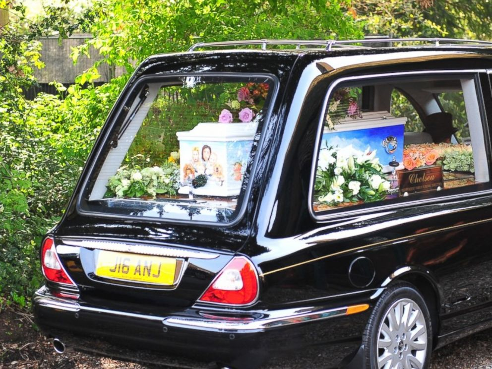 PHOTO: Family and friends are seen attending the funeral of Peaches Geldof in Kent.