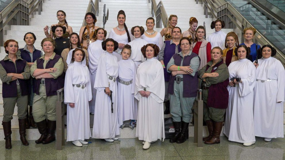 PHOTO: Leia Organa cosplayers pose for pictures at the 2017 Star Wars Celebration fan convention in Orlando.