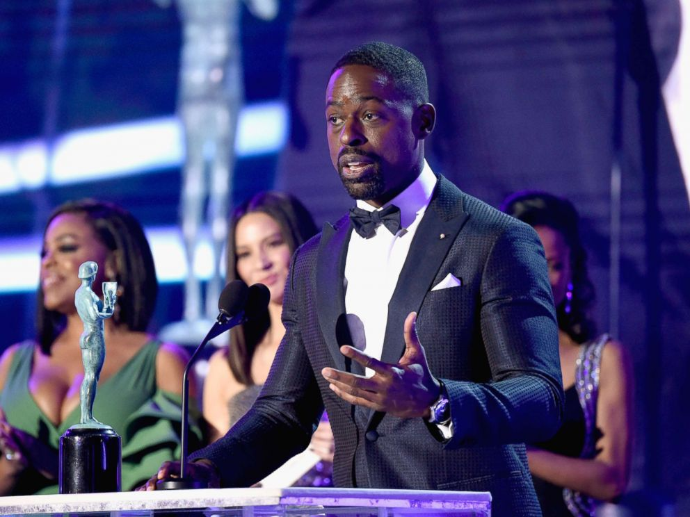 PHOTO: Sterling K. Brown speaks onstage during the 24th Annual Screen Actors Guild Awards at The Shrine Auditorium on Jan. 21, 2018 in Los Angeles.