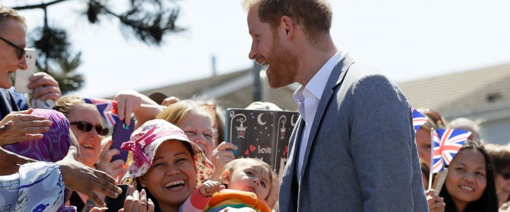 Britains Prince Harry, The Duke of Sussex meets members of the public as he arrives for a visit to Barton Neighbourhood Centre in Oxford, England Tuesday, May 14, 2019. The centre is a hub for local residents which houses a doctors surgery, food ba