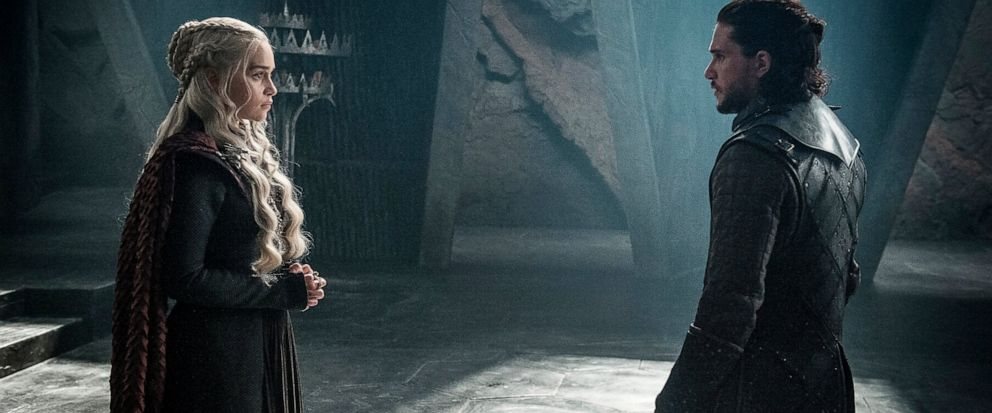 """This photo provided by HBO shows Emilia Clarke as Daenerys Targaryen and Kit Harington as Jon Snow in a scene from HBOs """"Game of Thrones."""" The final season premieres on Sunday. (Helen Sloan/Courtesy of HBO via AP)"""