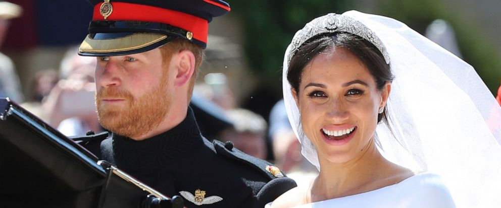 FILE - In this Saturday, May 19, 2018 file photo, Britains Prince Harry and his wife Meghan Markle leave after their wedding ceremony, at St. Georges Chapel in Windsor Castle in Windsor, near London, England. Sunday, May 19, 2019 marks the first we