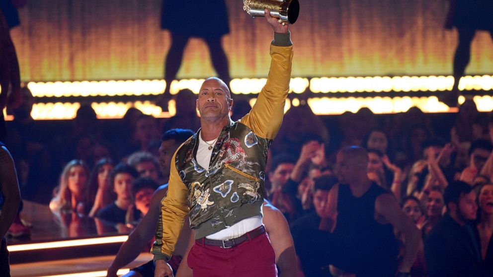 The Rock and other stars promote positivity at MTV awards