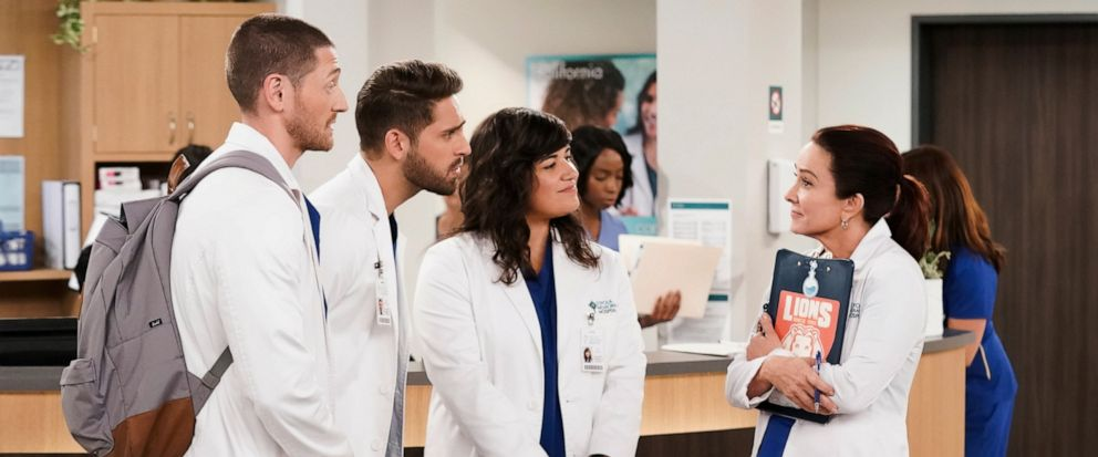 """This image released by CBS shows, from left, Lucas Neff, Jean-Luc Bilodeau, Sabrina Jalees and Patricia Heaton from the comedy """"Carols Second Act,"""" premiering in the fall. (Sonja Flemming/CBS via AP)"""