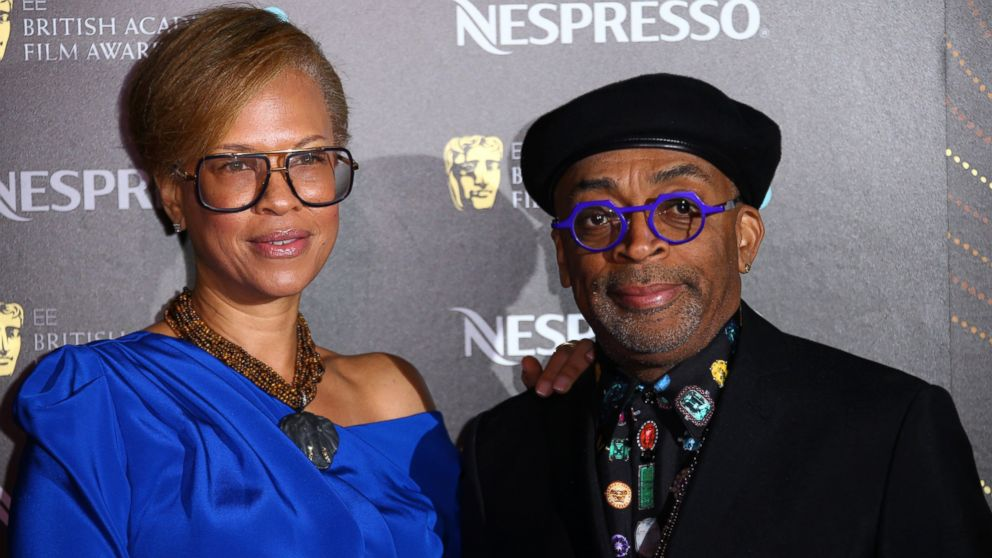 Director Spike Lee, right, and producer Tonya Lewis Lee pose for photographers upon arrival at the BAFTA Nominees Party in London, Saturday, Feb. 9, 2019. (Photo by Joel C Ryan/Invision/AP)