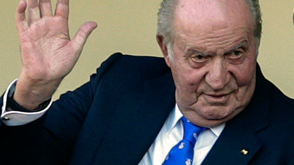 FILE - In this file photo dated Sunday, June 2, 2019, Spain's former King Juan Carlos waves at the bullring in Aranjuez, Spain. The former lover of Spain's King Emeritus Juan Carlos has filed a lawsuit with a British court accusing him of spying on h