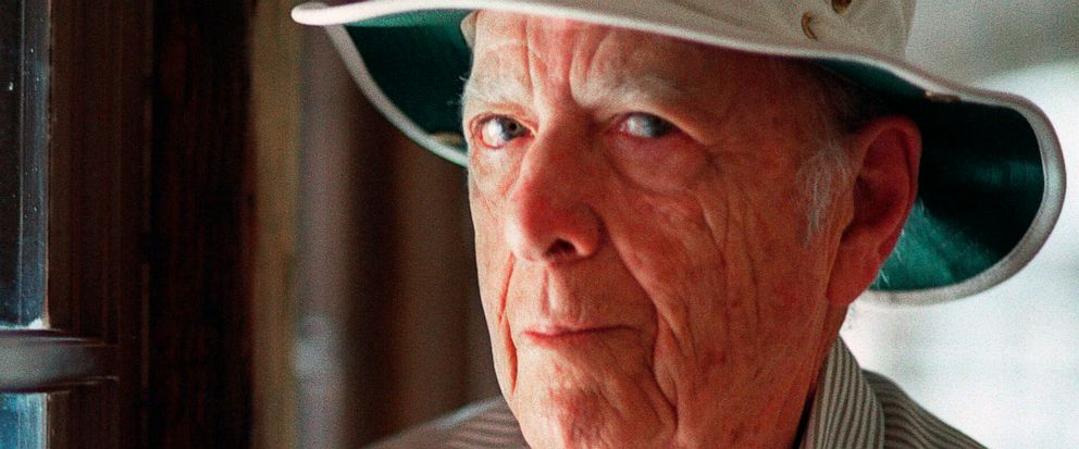 FILE - This May 15, 2000, file photo, shows Pulitzer Prize-winning author Herman Wouk in Palm Springs, Calif. Wouk died in his sleep early Friday, May 17, 2019, according to his literary agent Amy Rennert. He was 103. (AP Photo/Douglas L. Benc Jr., File)