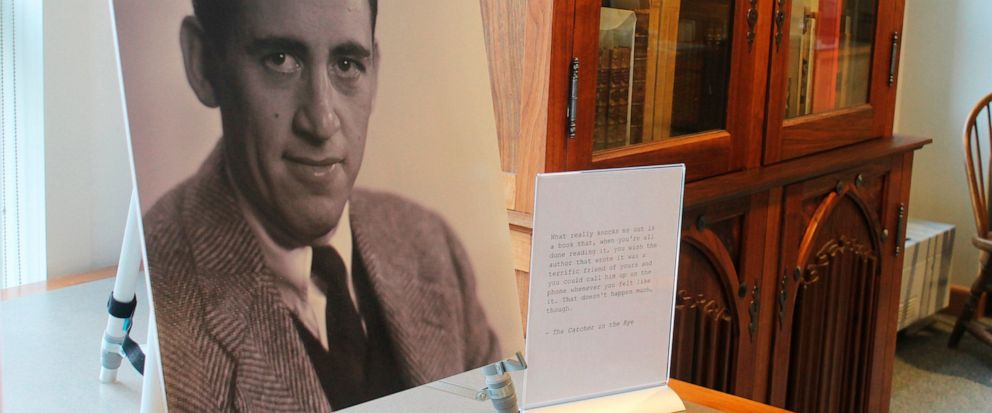 FILE - In a Tuesday, Jan. 22, 2019 file photo, a previously unseen photo of author J.D. Salinger is displayed at the University of New Hampshire in Durham, N.H. 'The Catcher in the Rye' author is going digital The late J.D. Salinger is giving in to t