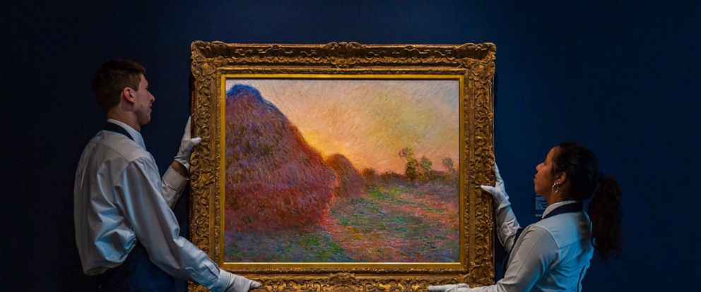 """This undated photo provided by Sothebys shows Claude Monets painting titled """"Meules."""" The painting, one of Monets iconic paintings of haystacks, has fetched a record $110.7 million at an auction in New York. The 1890 painting sold at Sothebys sal"""