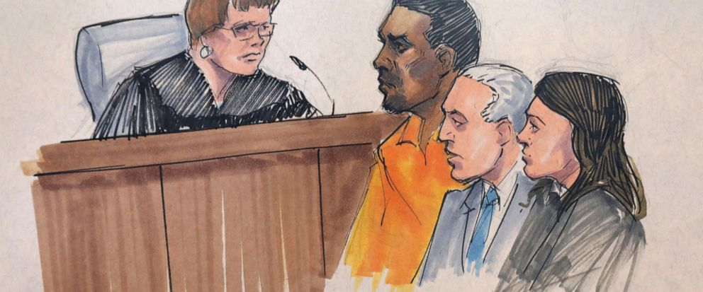In this courtroom sketch, R&B singer R. Kelly, center, appears before U.S. Magistrate Shelia M. Finnegan, left, in U.S. District Court for the Northern District of Illinois. Friday, July 12, 2019, in Chicago. Also standing with Kelly is his attorney