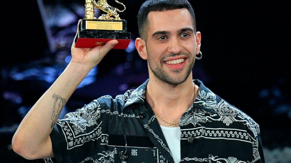 Italian singer Mahmood celebrates on stage after winning the 69th Sanremo Italian Song Festival at the Ariston theater in Sanremo, Italy, on Saturday, Feb. 9, 2019. (Ettore Ferrari/ANSA via AP)