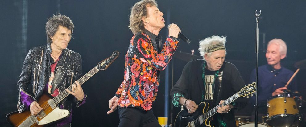 "FILE - In this Oct. 22, 2017, file photo from left, Ronnie Wood, Mick Jagger, Keith Richards and Charlie Watts of the Rolling Stones perform during the concert of their ""No Filter"" Europe Tour 2017 at U Arena in Nanterre, outside Paris. The Rolling S"