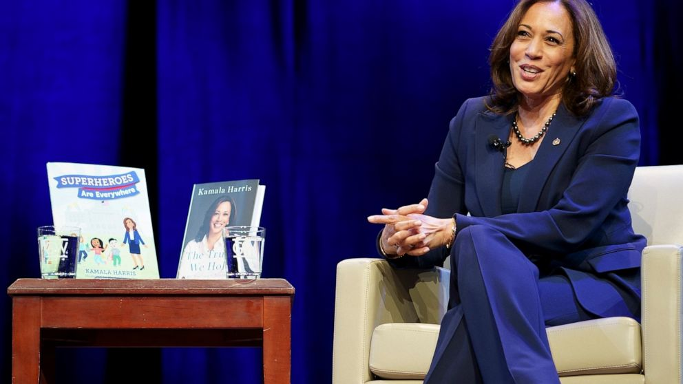 FILE - Kicking off her book tour, Sen. Kamala Harris, D-Calif. speaks at George Washington University in Washington, in this Wednesday, Jan. 9, 2019, file photo. Books by and about Kamala Harris are proving to be a popular purchase following the elec