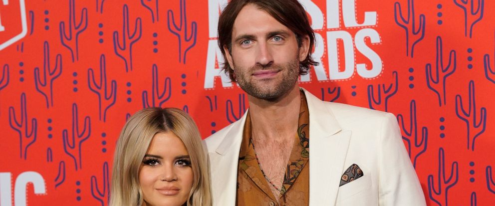 FILE - This June 5, 2019 file photo shows Maren Morris and Ryan Hurd at the CMT Music Awards in Nashville, Tenn. The Grammy-winning country singer posted of a photo of herself with her husband Hurd on Instagram on Tuesday announcing her pregnancy, sa