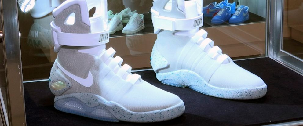 """This image taken from video shows a pair of Nike Mags ,inspired by """"Back to the Future,"""" on display in New York on Friday, July 12, 2019. The sneaker is among 100 pairs of rare sneakers up for auction at Sothebys in New York. Bidding runs through Ju"""