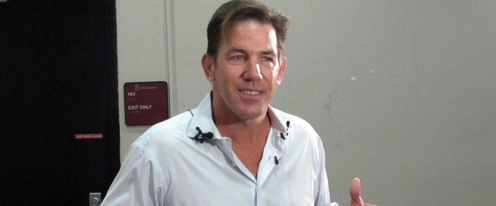 FILE - This July 14, 2014 file photo shows former South Carolina Treasurer and reality TV star Thomas Ravenel talking to reporters after applying to run as an independent candidate for the U.S. Senate seat held by Lindsey Graham at the state Election