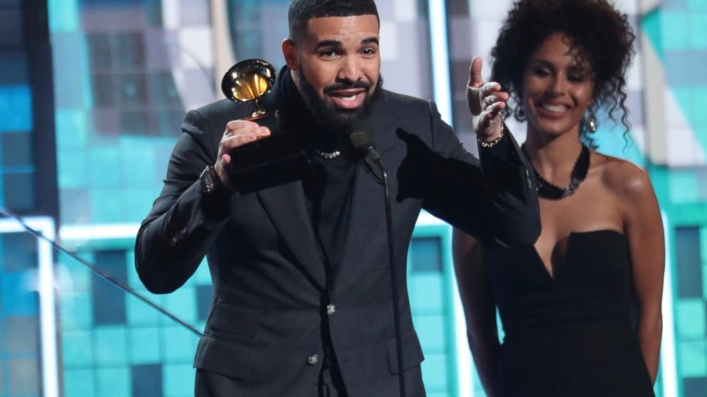 "Drake accepts the award for best rap song for ""God's Plan"" at the 61st annual Grammy Awards on Sunday, Feb. 10, 2019, in Los Angeles. (Photo by Matt Sayles/Invision/AP)"