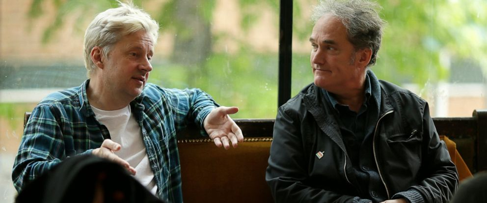 """Actor Will Barton, who plays British politician Boris Johnson in the upcoming play """"The Last Temptation of Boris Johnson"""", and the writer of the play, Jonathan Maitland, speaks during an interview with The Associated Press in London, Tuesday, May 7,"""