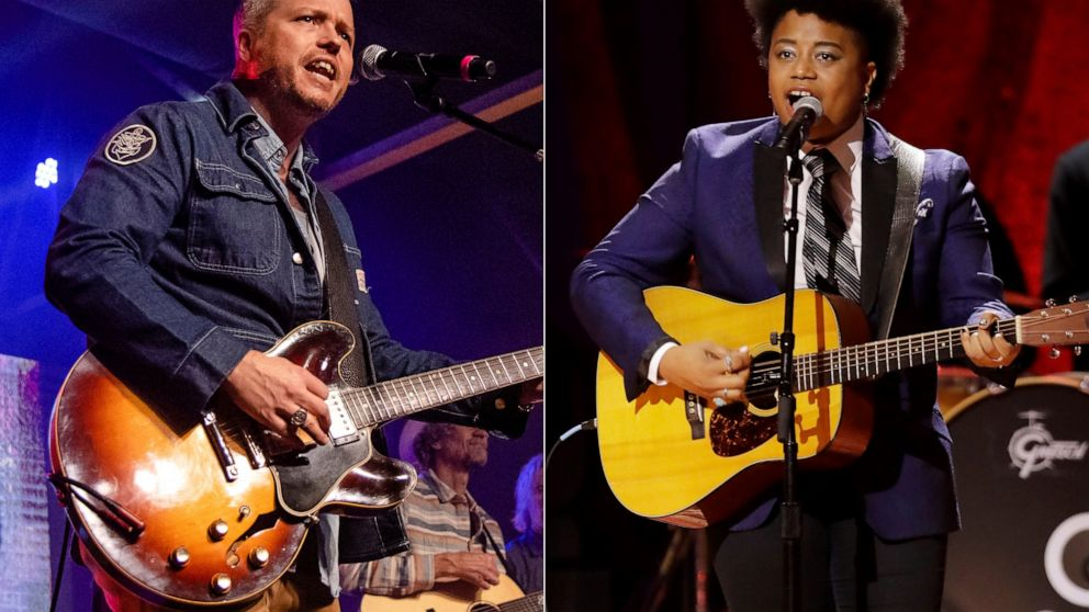 Jason Isbell performs at the To Nashville, With Love Benefit Concert in Nashville, Tenn. on March 9, 2020, left, and Amythyst Kiah of Our Native Daughters performs during the Americana Honors & Awards show in Nashville, Tenn. on Sept. 11, 2019. Singe