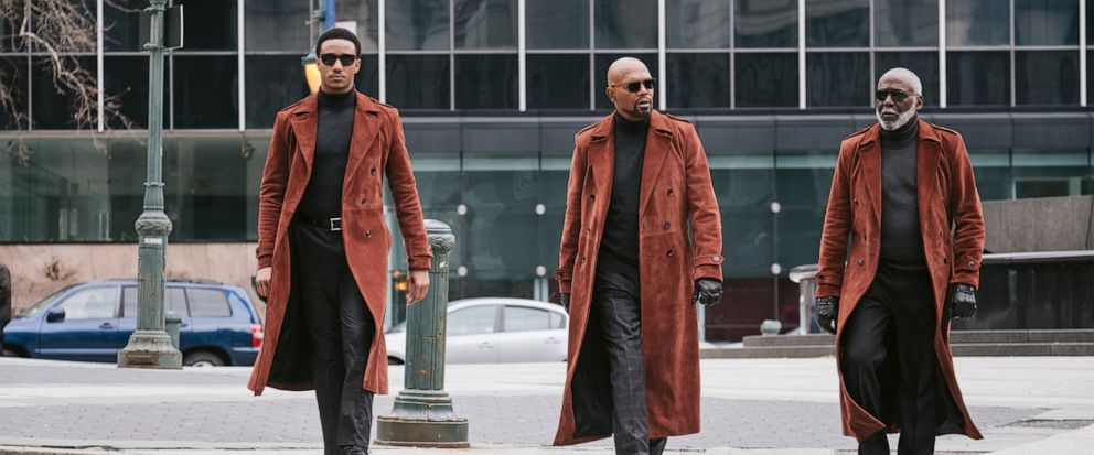"""This image released by Warner Bros. Pictures shows from left, Jessie Usher, Samuel Jackson and Richard Roundtree in a scene from """"Shaft."""" (Kyle Kaplan/Warner Bros. Pictures via AP)"""
