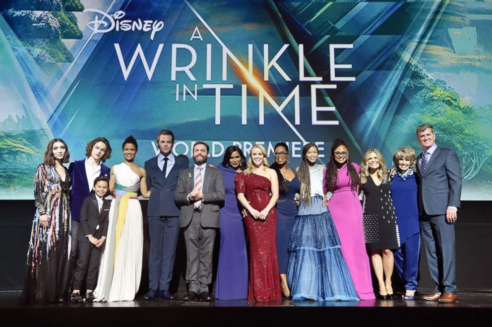 PHOTO: The cast of A Wrinkle in Time with director Ava DuVernay, screenwriter Jennifer Lee, producers Catherine Hand and Jim Whitaker pose at the world premiere in Hollywood, Calif., on March 26, 2018.