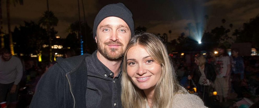 "PHOTO: Aaron Paul and Lauren Parsekian attend Cinespias screening of ""Some Like It Hot"" held at Hollywood Forever, Aug. 19, 2017, in Hollywood, Calif."
