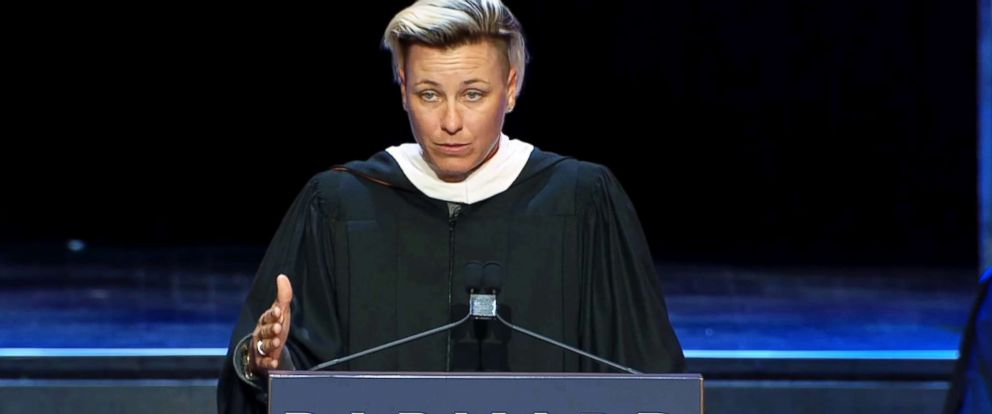 PHOTO: Abby Wambach speaks at Barnard Colleges 2018 graduation.