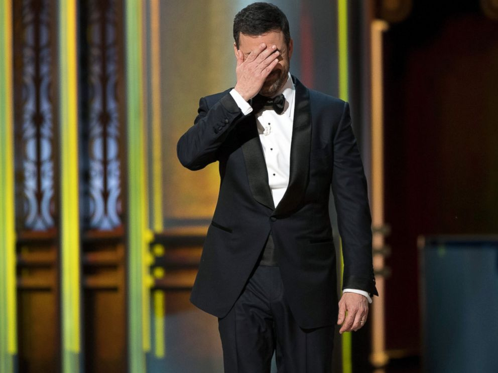 PHOTO: Host Jimmy Kimmel reacts to the news that the wrong movie had been announced as winner of the Best Picture award during the 89th Annual Academy Awards, Feb. 26, 2017, in Los Angeles.